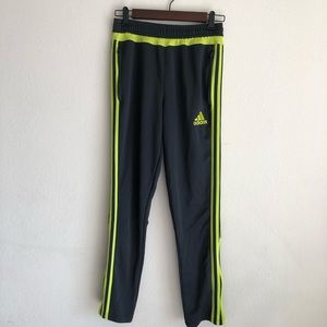 Adidas track pants, dark grey/yellow, L
